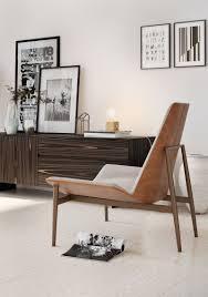 kent lounge chair gray denim on caramel by modloft