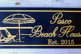 mysite beach house sign custom carved established sign b100