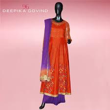 muted purple muted orange u0026 purple colored soft silk anarkali kurta worn with