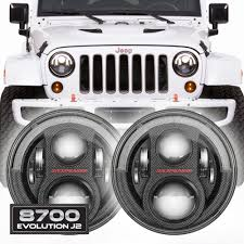 jeep headlights at night jw speaker 8700 evolution j2 jeep wrangler led headlights