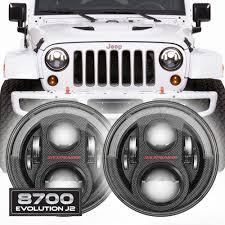 jeep headlights at night jw speaker 8700 evolution j2 jeep wrangler led headlights