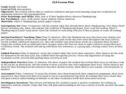 eld lesson plan thanksgiving 3rd grade lesson plan lesson planet