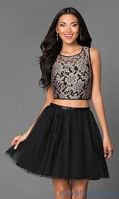 klshort black dresses lace two black party dress