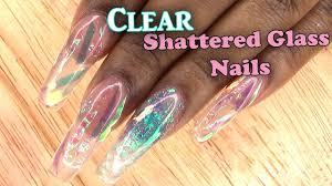 extreme shatter glass nails full set acrylic nails with tips