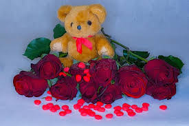 s day teddy teddy surrounded by roses and candy hearts for s