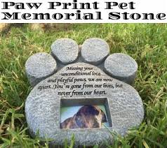 dog memorial paw print pet memorial features a photo frame