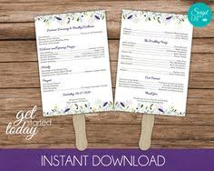 wedding program paddle fan template lace paddle fan program template sided diy
