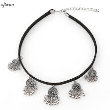 aliexpress collar necklace images Black velvet choker boho choker necklace hippie gothic charm jpg