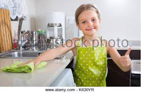 Cleaning Table Stock Images Royalty by Cute Little Cleaning Table At Home Kitchen Stock Photo
