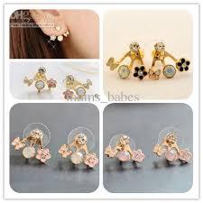 unique stud earrings 2017 fashion earrings unique butterfly flower diamond stud