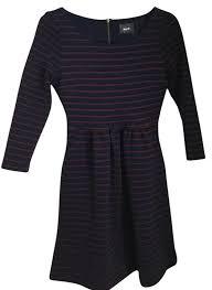 maeve clothing maeve navy burgundy stripe dress on tradesy
