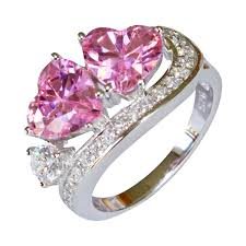 promise rings com images Double pink hearts promise ring pink cubic zirconia cute jpg