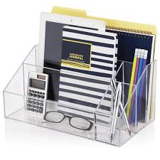 Acrylic Desk Organizers Office Clear Acrylic Desktop File Organizer With Vertical Storage