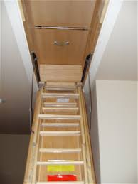 garage loft stairs wooden ladder with handrail home decor how to