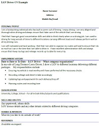 lgv driver cv example u2013 cover letters and cv examples