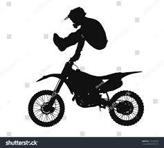 motocross freestyle riders silhouette freestyle motocross rider jumping through stock