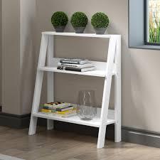 White Ladder Shelves by Walker Edison Furniture Company 30 In Wood Ladder Bookshelf