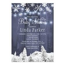 white blue wonderland rustic winter baby shower card rustic