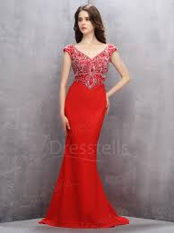 mermaid v neck sweep train red chiffon prom dress with beading