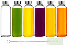 amazon com brieftons glass water bottles 6 pack 18 oz