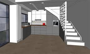 cuisine sous escalier réflexion pour aménagement cuisine à nîmes architecte kva à