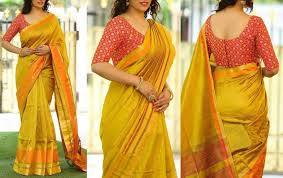 style blouse buy style amaze yellow color chanderi silk plain saree with