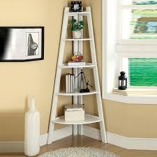 White Corner Bookcase White Cherry Black Storage Ladder Shape Bookcase Bookshelf Display