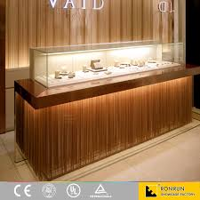 Jewelry Shop Decoration Wood Shop Counter Top Glass Display Showcase And Jewelry Store