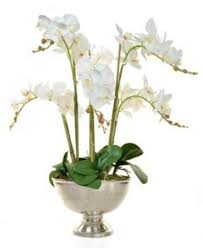 artificial orchids large white orchid arrangement in silver bowl artificial green