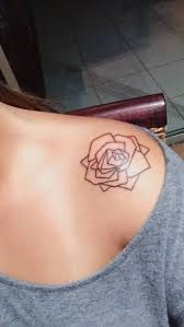simple linework geometric rose shoulder tattoo amazing tattoo ideas