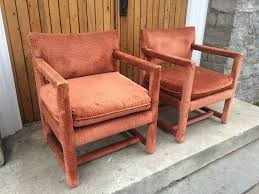 Orange Parsons Chair Vintage Ethan Allen Parson Chairs Milo Baughman Styled Antique