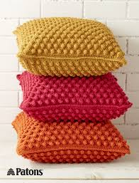 bobble licious pillows crochet yarnspirations patons