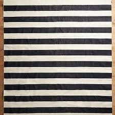 Grey Striped Rug Bold Graphite Grey Striped Wool Blend Rug