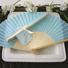 silk fan light blue silk fans theme wedding favors wedding