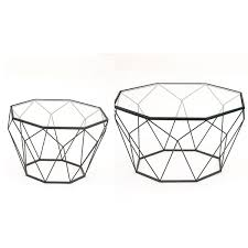Metal Glass Coffee Table Urban Designs Modern Diamond Bl Ack Metal And Glass Coffee Table