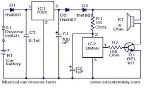 musical car reverse horn circuit electronic circuits and diagram
