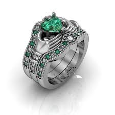 claddagh wedding ring sets claddagh wedding ring sterling silver emerald cz and
