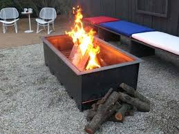 wood burning fire table wooden fire pit peaceful design ideas rectangular wood burning fire