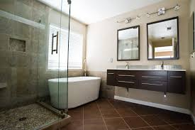 bathroom remodeling pictures with contemporary bathroom before and after remodeling pictures with brown colors large tiles flooring idea also