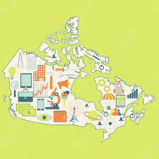Map Of Canada by Map Of Canada With Technology Icons U2014 Stock Vector Drical 51079665