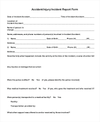 incident report form template word report forms template generic injury incident report form