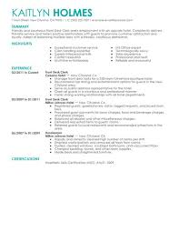 Hospitality Resume Samples by Best Front Desk Clerk Resume Example Livecareer