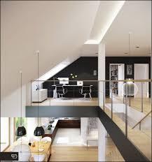 interior spacious attic bedroom with corner workspce