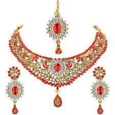 indian bridal jewelry necklace images Buy spargz new indian bollywood style gold plated red ad stone jpg
