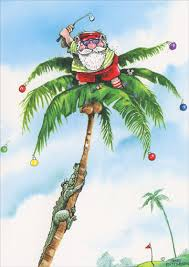 golfer santa on top of palm tree box of 18 gary patterson tropical