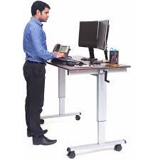 Luxor 59 W Crank Adjustable Stand Up Desk Dark Walnut Walmart Com