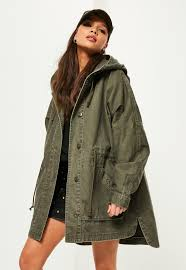 khaki washed effect utility parka coat missguided