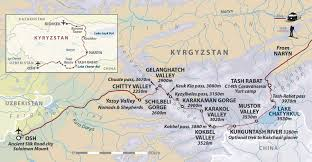 Bishkek Map Kyrgyzstan Walking Holiday Silk Road Mountain Trek Helping