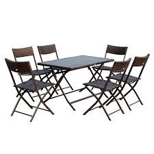 patio furniture 7 dining set outsunny 7 outdoor folding rattan wicker dining table and