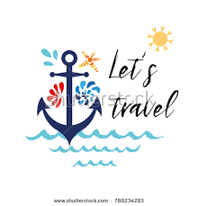 Anchor Print Inspirational Print Quot - sea flyer anchor seashells phrase lets stock vector 788234203